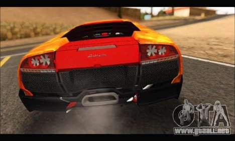 Lamborghini Murcielago In Flames para GTA San Andreas vista hacia atrás