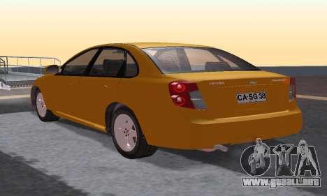 Chevrolet Lacetti para GTA San Andreas vista posterior izquierda