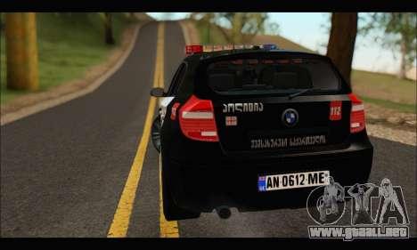 BMW 120i GEO Police para la visión correcta GTA San Andreas