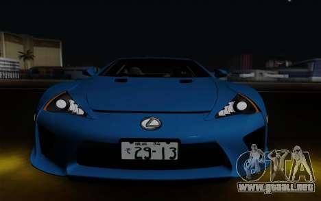 Lexus LF-A 2010 para visión interna GTA San Andreas