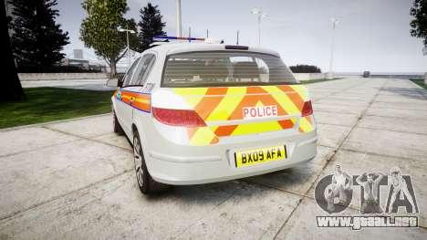Vauxhall Astra 2009 Police [ELS] 911EP Galaxy para GTA 4 Vista posterior izquierda