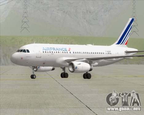 Airbus A319-100 Air France para GTA San Andreas vista posterior izquierda