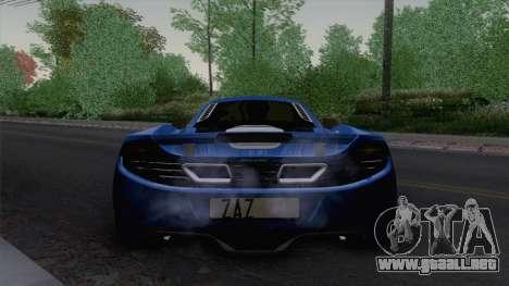 McLaren MP4-12C Gawai v1.5 HQ interior para GTA San Andreas vista hacia atrás