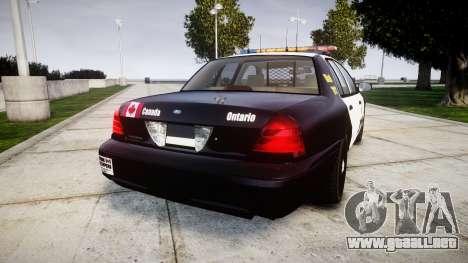Ford Crown Victoria Ontario Police [ELS] para GTA 4 Vista posterior izquierda