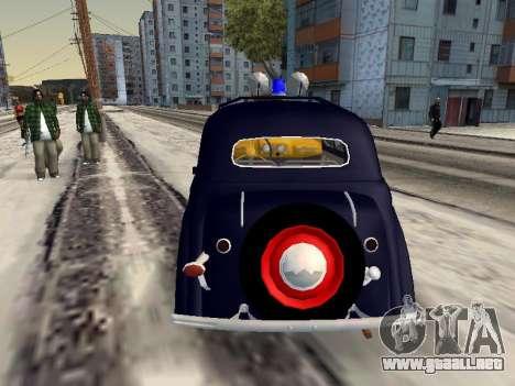 Moskvich 400 De La Policía para GTA San Andreas vista posterior izquierda