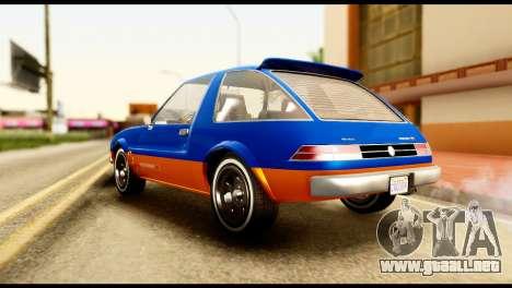 Declasse Rhapsody from GTA 5 para GTA San Andreas vista posterior izquierda