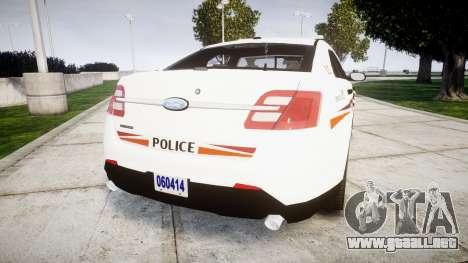 Ford Taurus 2014 Police Interceptor [ELS] para GTA 4 Vista posterior izquierda