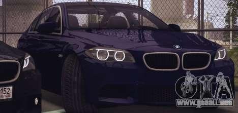 BMW M550d 2014 para GTA San Andreas vista posterior izquierda