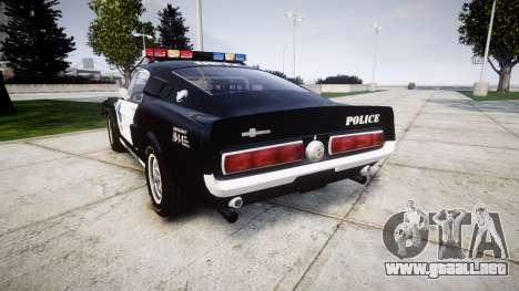 Ford Shelby GT500 Eleanor Police [ELS] para GTA 4 Vista posterior izquierda