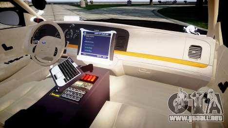 Ford Crown Victoria Canada Police [ELS] para GTA 4 vista hacia atrás