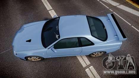 Nissan Skyline R34 GT-R V.specII 2002 para GTA 4 visión correcta