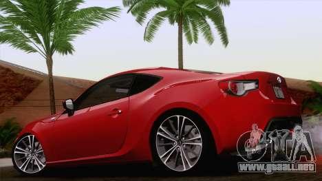 Toyota GT86 (ZN6) 2012 para GTA San Andreas left