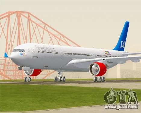 Airbus A330-300 Scandinavian Airlines para GTA San Andreas vista hacia atrás