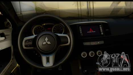 Mitsubishi Lancer X Stock para GTA San Andreas vista hacia atrás