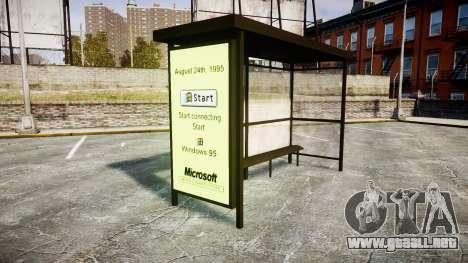 Publicidad de Windows 95 en las paradas de autob para GTA 4 segundos de pantalla