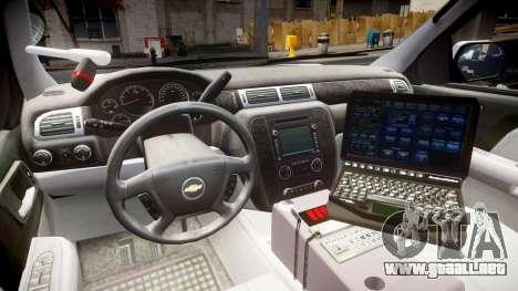 Chevrolet Tahoe 2010 Police Alderney [ELS] para GTA 4 vista hacia atrás