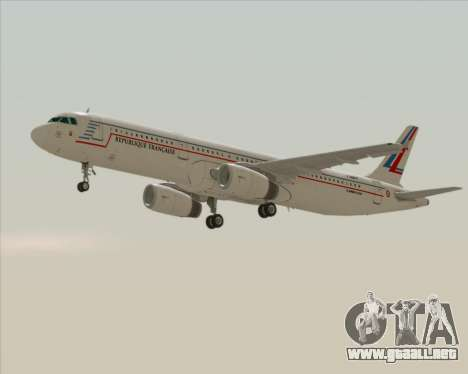 Airbus A321-200 French Government para GTA San Andreas vista posterior izquierda