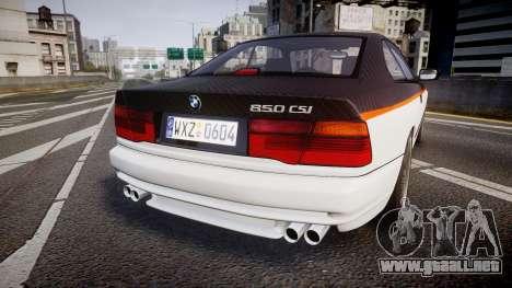 BMW E31 850CSi 1995 [EPM] Carbon para GTA 4 Vista posterior izquierda