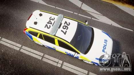 Volvo V60 Swedish Police [ELS] para GTA 4 visión correcta