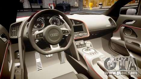 Audi R8 E-Tron 2014 para GTA 4 vista interior