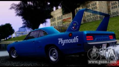 Plymouth Roadrunner Superbird RM23 1970 IVF para GTA San Andreas vista hacia atrás