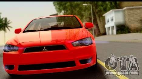 Mitsubishi Lancer X Stock para GTA San Andreas vista posterior izquierda