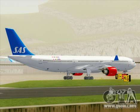 Airbus A330-300 Scandinavian Airlines para la vista superior GTA San Andreas