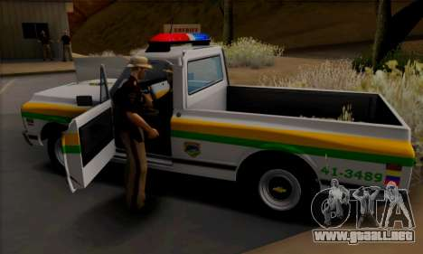Chevrolet C10 1972 Policia para GTA San Andreas vista hacia atrás