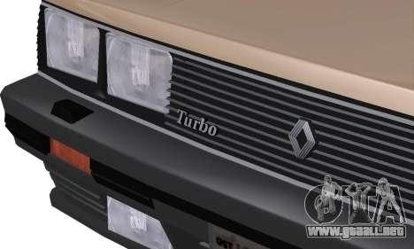 Renault 11 Turbo Phase I 1984 para vista lateral GTA San Andreas