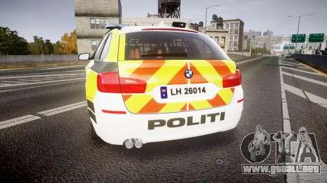 BMW 530d F11 Norwegian Police [ELS] para GTA 4 Vista posterior izquierda