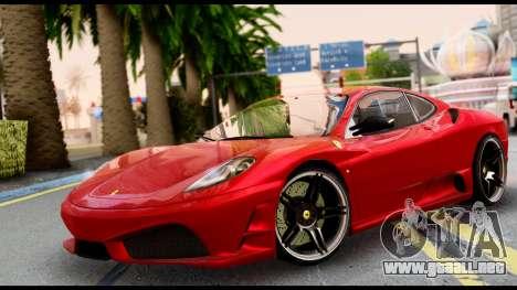 Ferrari F430 Scuderia para GTA San Andreas vista posterior izquierda