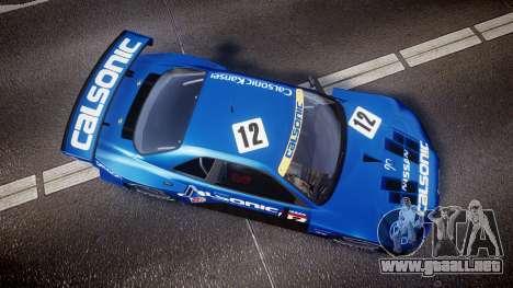 Nissan Skyline R34 2003 JGTC Calsonic para GTA 4 visión correcta