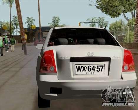 Hyundai Accent 2004 para GTA San Andreas vista posterior izquierda