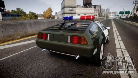 DeLorean DMC-12 [Final] Police para GTA 4 Vista posterior izquierda