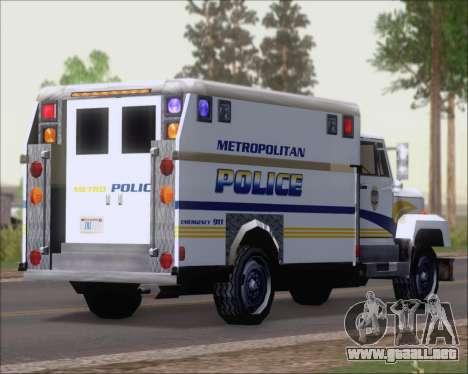 Enforcer Metropolitan Police para GTA San Andreas vista posterior izquierda