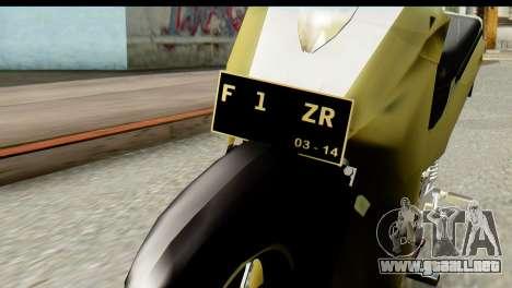 Yamaha F1ZR Stock para GTA San Andreas vista hacia atrás