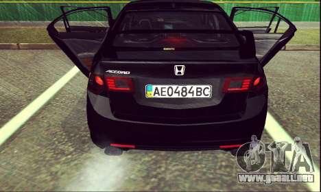Honda Accord Type S 2008 LT para GTA San Andreas vista posterior izquierda