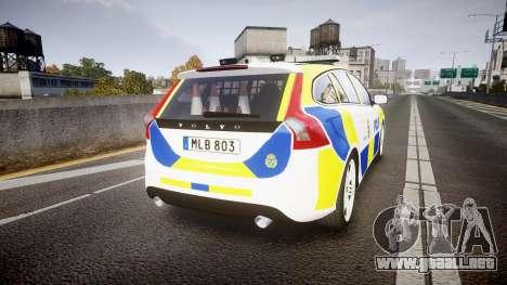 Volvo V60 Swedish Police [ELS] para GTA 4 Vista posterior izquierda
