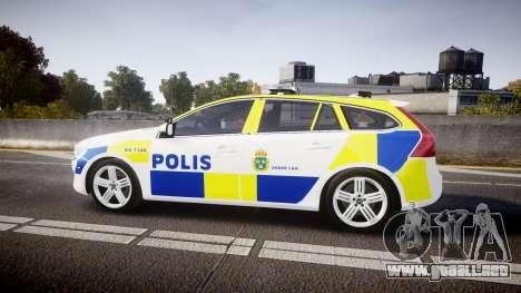 Volvo V60 Swedish Police [ELS] para GTA 4 left