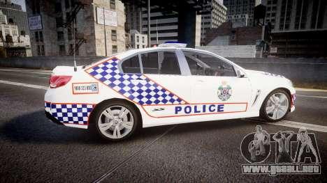 Holden VF Commodore SS Queensland Police [ELS] para GTA 4 left