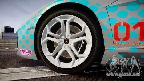 Lamborghini Aventador 2012 [EPM] Miku 3 para GTA 4 vista hacia atrás