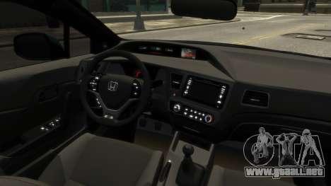 Honda Civic Si 2013 v1.0 para GTA 4 vista hacia atrás