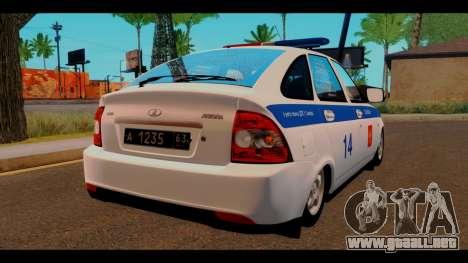VAZ 2172 de la Policía para GTA San Andreas vista posterior izquierda