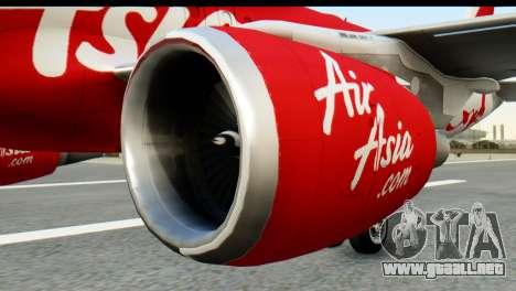 Airbus A320-200 Indonesia AirAsia para GTA San Andreas vista posterior izquierda