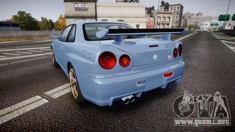 Nissan Skyline R34 GT-R V.specII 2002 para GTA 4 Vista posterior izquierda