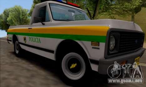 Chevrolet C10 1972 Policia para GTA San Andreas vista posterior izquierda