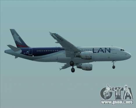 Airbus A320-200 LAN Argentina para GTA San Andreas vista posterior izquierda