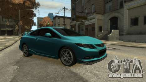 Honda Civic Si 2013 v1.0 para GTA 4 Vista posterior izquierda