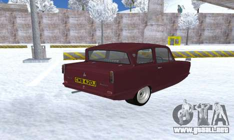 Reliant Regal Sedan para GTA San Andreas vista posterior izquierda