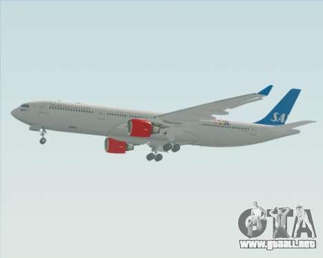 Airbus A330-300 Scandinavian Airlines para GTA San Andreas vista posterior izquierda